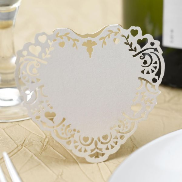 Vintage Romance Ivory Laser Cut Freestanding Place Cards (10)
